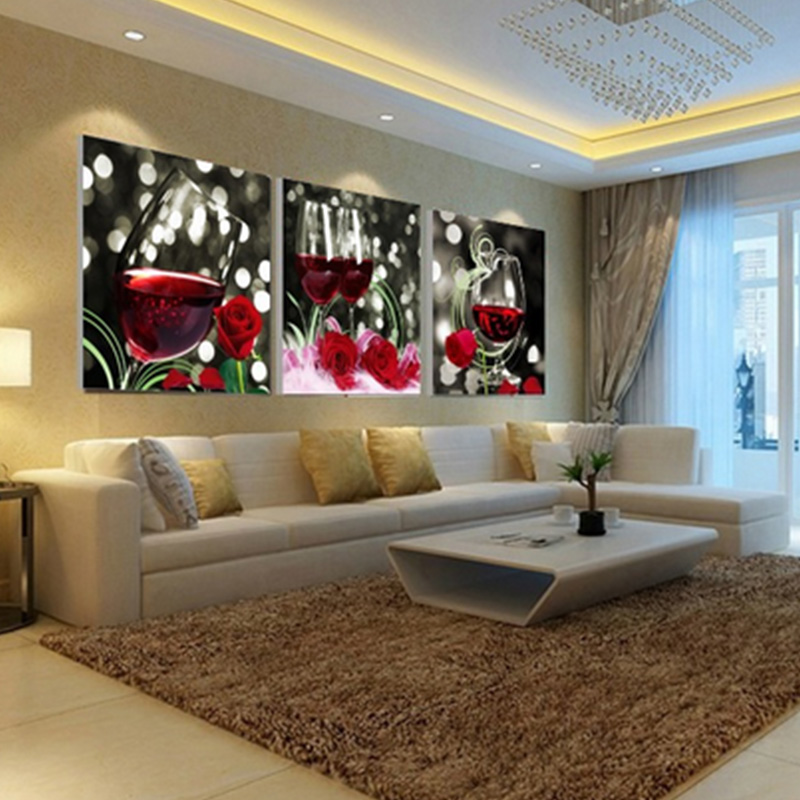 3pcs Lot Abstract Splicing Chrysanthemum Canvas Wall Oil