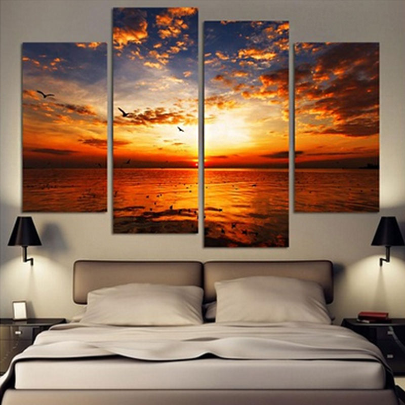 4pcs lot modern landscape canvas wall art print oil - Cuadros para una habitacion ...