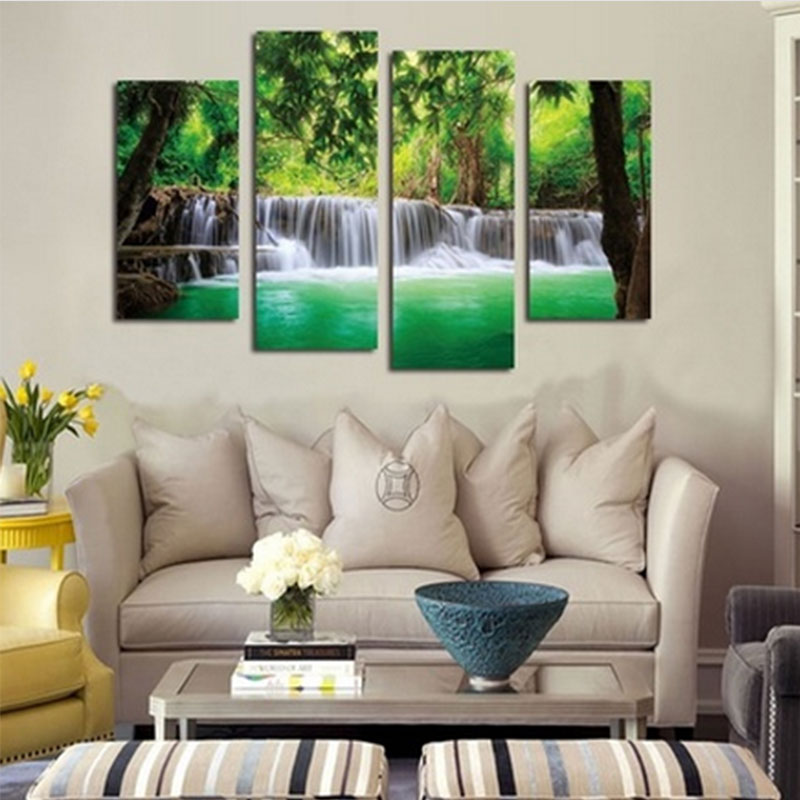 5pcs lot modern landscape canvas wall art print oil for Modern home decor market