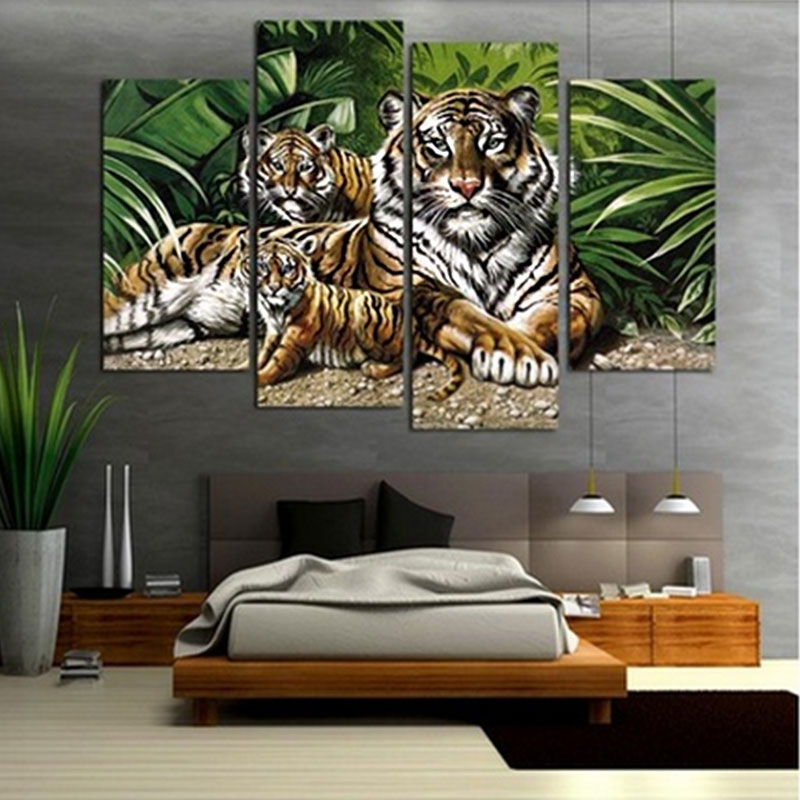 Animal Home Decor: 4Pcs/lot Modern Animal Canvas Wall Art Print Oil Painting