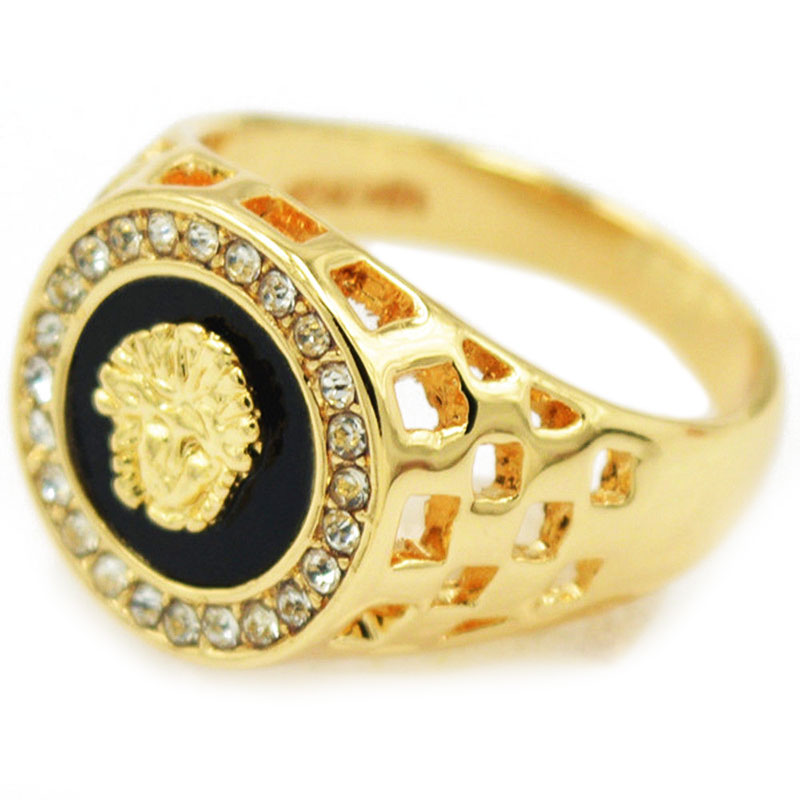 59F1-Ring-Golden-Lion-Head-Diamond-Jewelery-Personalize-Engagement-Band-Charm
