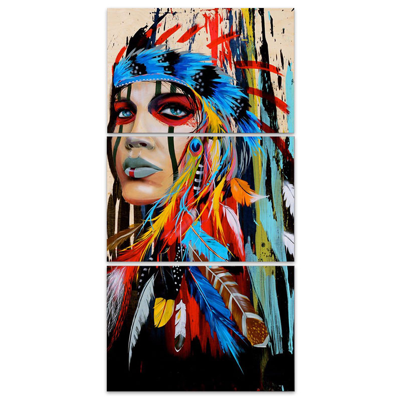 7A54-3Pcs-set-American-Indian-Oil-Painting-Decoration-Wall-Art-Print-Canvas