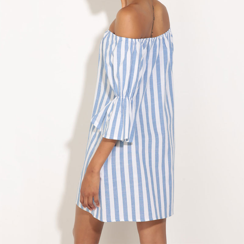 Woman Stripe Off Shoulder Peplum Sexy Summer Cocktail Party Mini Dress