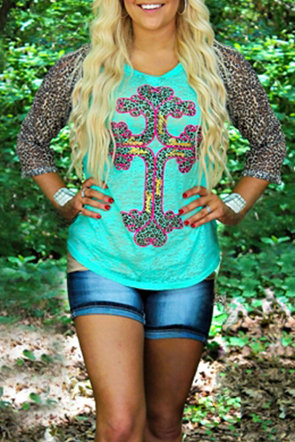 887A-Fashion-Women-039-s-Splicing-Leopard-Cross-Printed-3-4-Sleeve-Top-Tee-T-Shirt