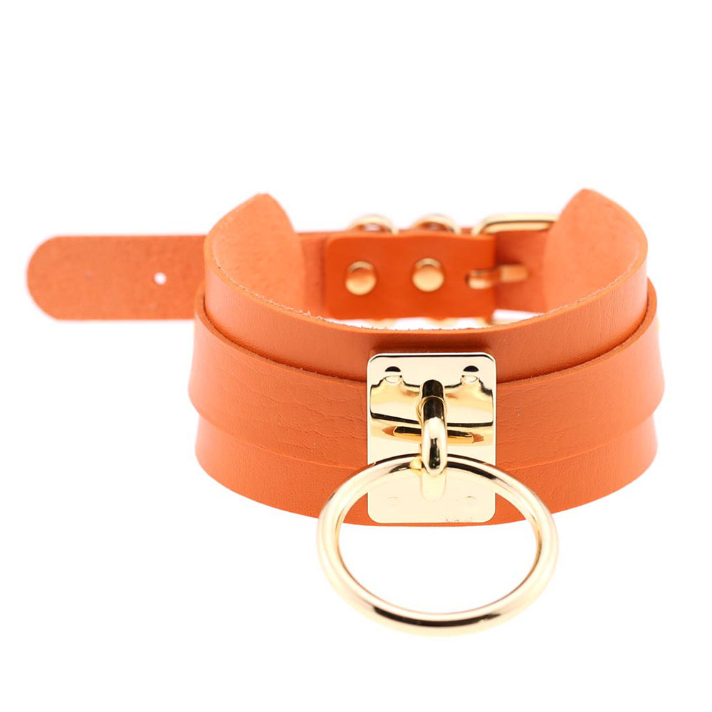 F318-Collar-PU-Leather-O-Shape-With-Ring-Necklace-Fashion-Choker-Gift-16-Colors