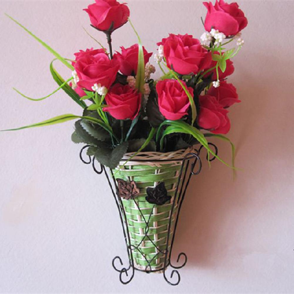 Vintage weave vine mural wall hanging flower plant basket home decor categories izmirmasajfo