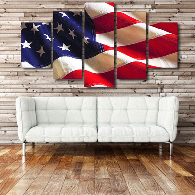 BC40-5Pcs-Set-American-Flag-Oil-Painting-Home-Decoration-Independent-Day-Art