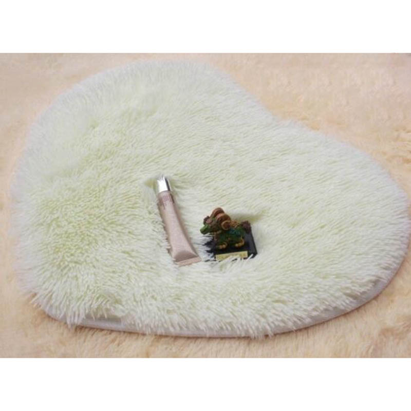 BC08-Bathromm-Door-Heart-Shaped-Carpet-Floor-Mat-Plush-Cushion-Pad-Shaggy-Rug