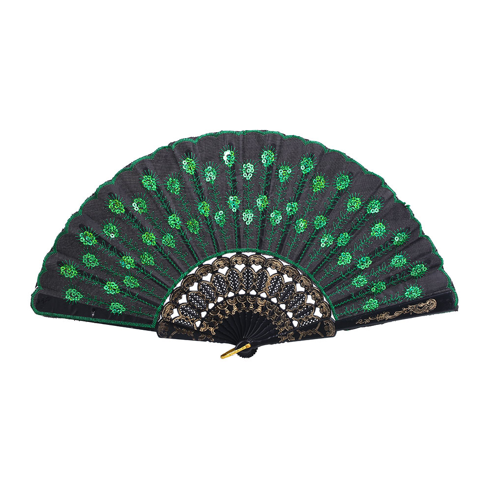 New-Foldable-Peacock-Embroidered-Sequin-Fabric-Hand-Fan-Fashionable-Prom-Fa