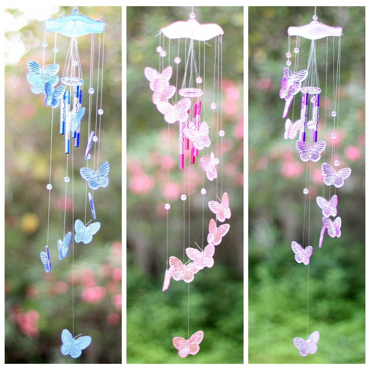 Home Decor Latest Collection Of Butterfly 4 Tubes Wind Chime Bell Home Ornament Church Hanging Garden Yard Decor