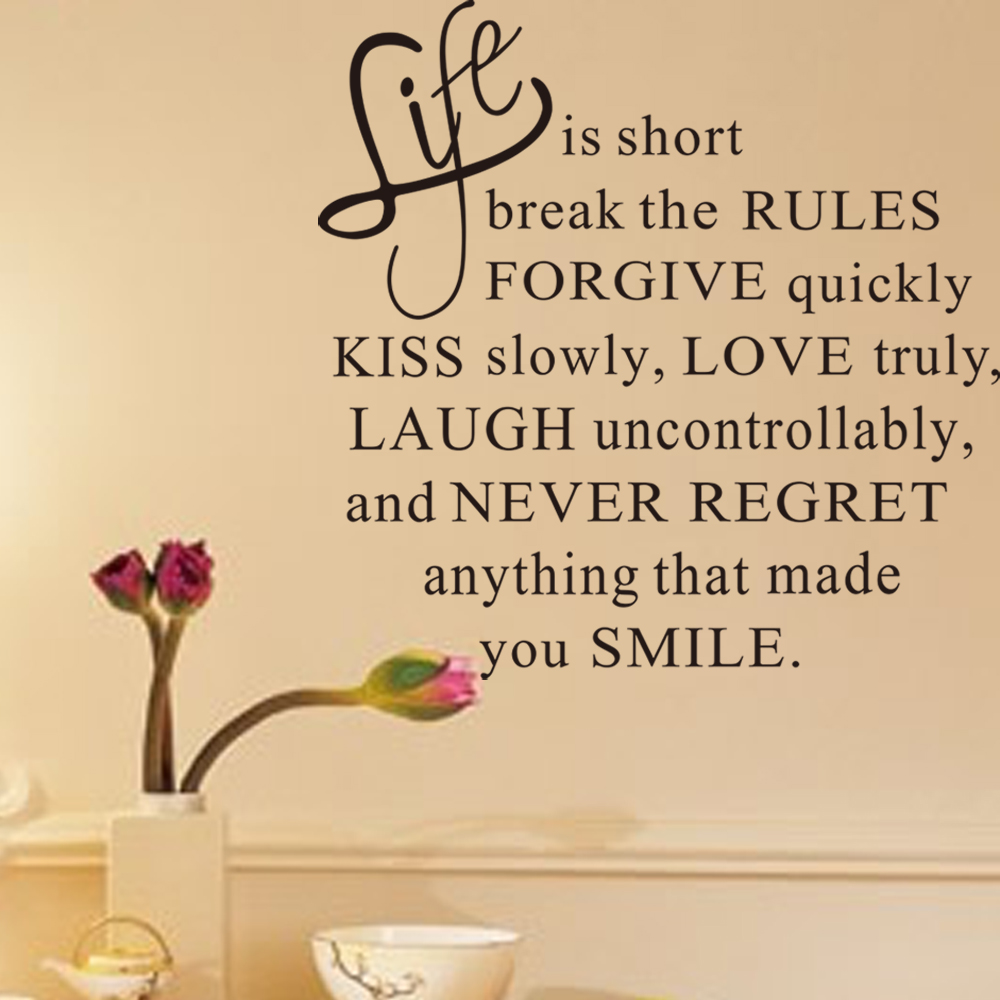 Life Is Short Letters Words Removable Wall Sticker Murals Home Decor ...