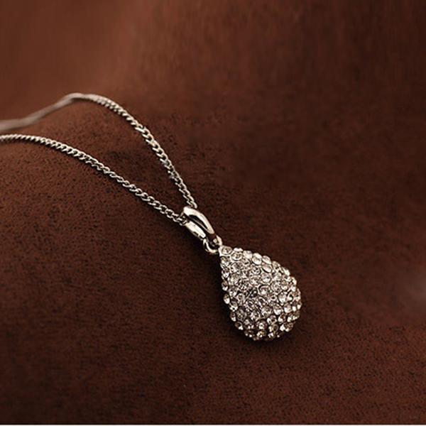 2CA5-Fashion-charm-Shiny-Women-Waterdrop-Rhinestone-Crystal-necklace-Jewelry