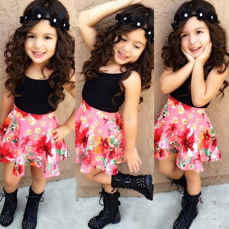 6FDE-Baby-Kid-Girl-Sleeveless-Camisole-Blouse-Floral-Swing-Skirt-Outfit-Set