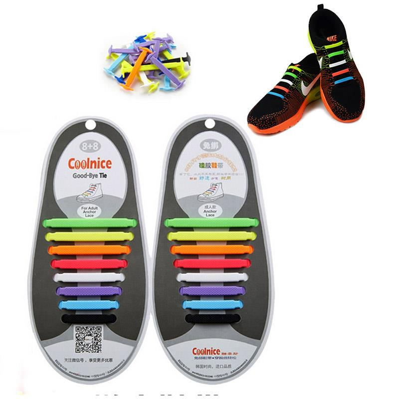494D-16Pcs-Unisex-Adult-Kids-Lazy-No-Tie-Shoelaces-Elastic-Laces-Fit-Sneakers