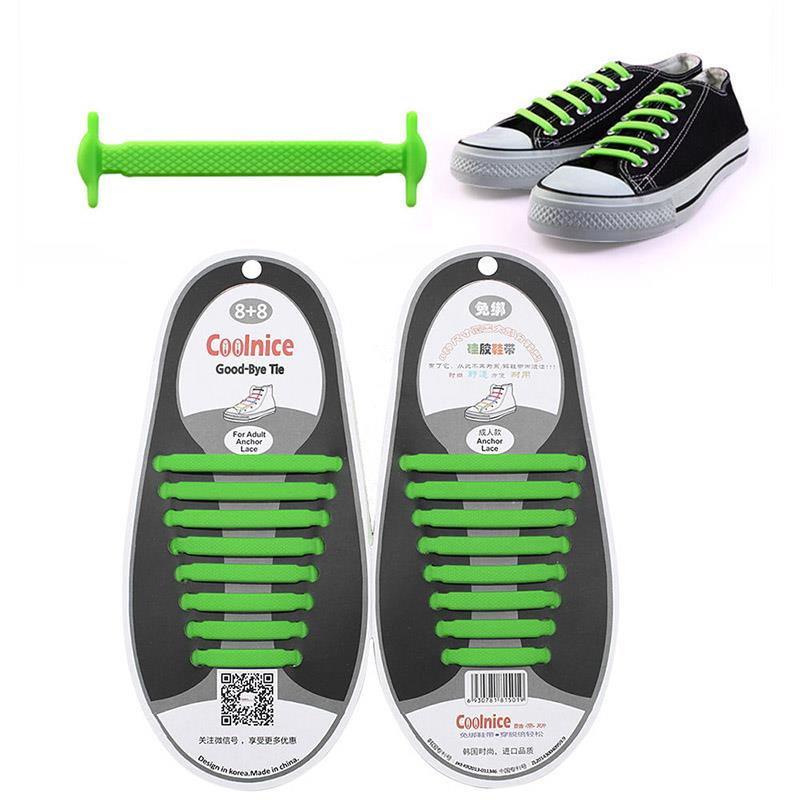 98E7-16Pcs-Unisex-Adult-Kids-Lazy-No-Tie-Shoelaces-Elastic-Laces-Fit-Sneakers