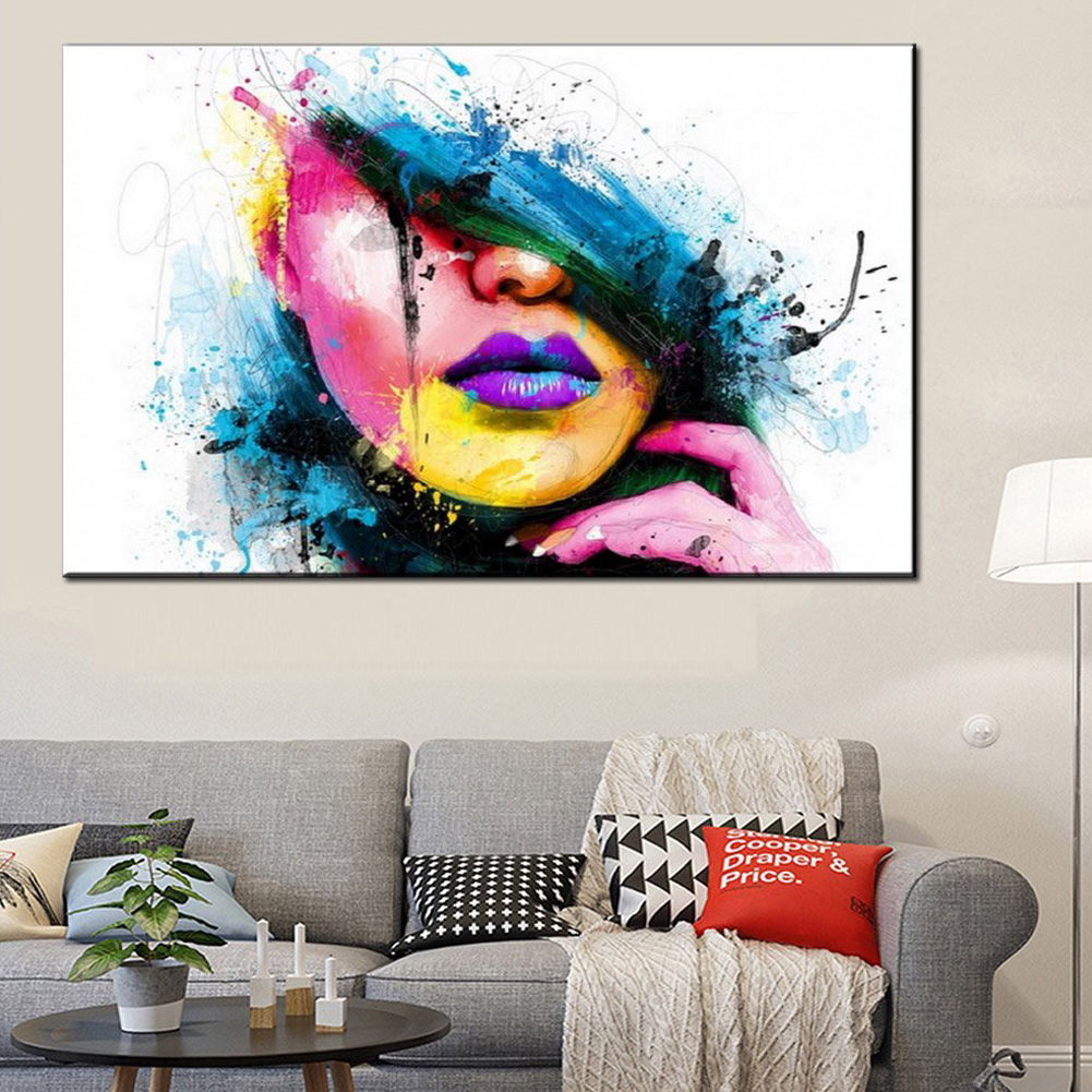 Description. NameModern Art Oil Painting  sc 1 st  eBay & Modern Abstract Canvas Wall Art Painted Painting Of a Womanu0027s Face ...