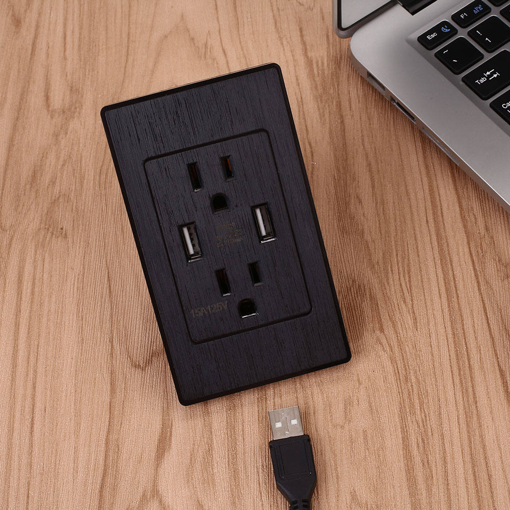 5C07-5V-2-1A-US-Standrad-Socket-Wall-Outlet-Dual-USB-Ports-Home-Black-White