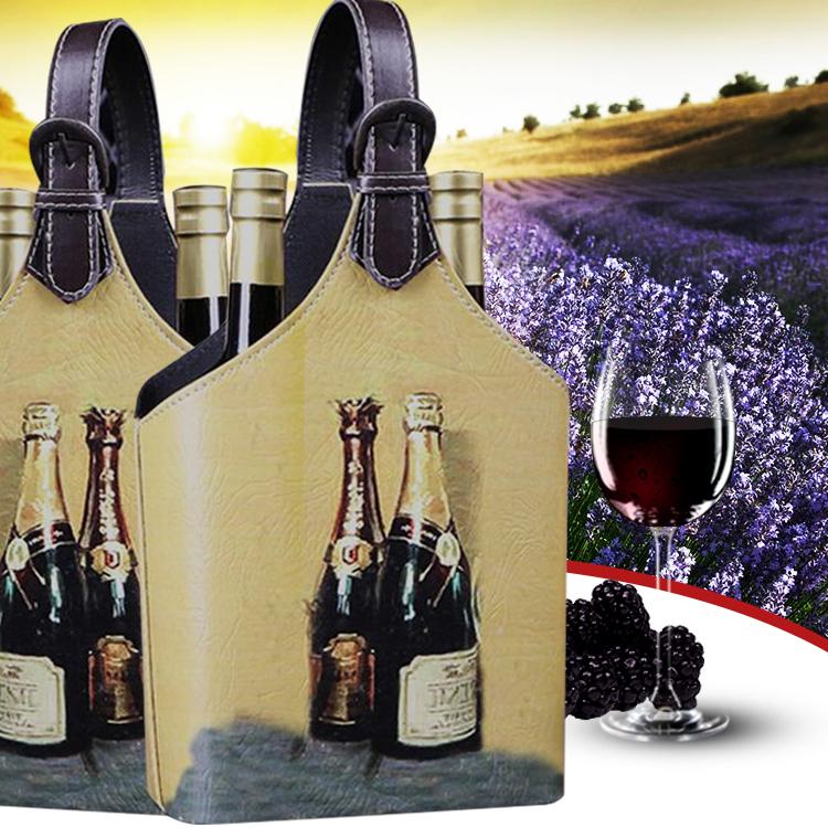 Retro Wine Gift Box Storage Holder Blanket For 2Bottles Bag With Handle