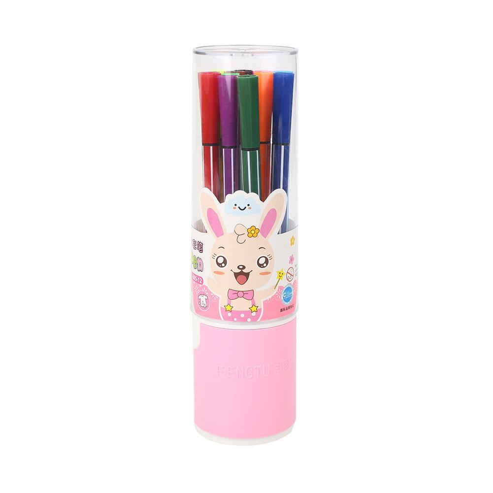 A74E-Marker-Painting-Pen-Colorful-Oily-12pcs-Double-Head-Brush-Kids-School