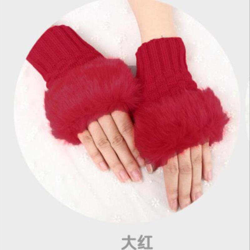 50BF-Women-Winter-Fur-Woolen-Knitted-Fingerless-Gloves-Trim-Arm-Wrist-Glove