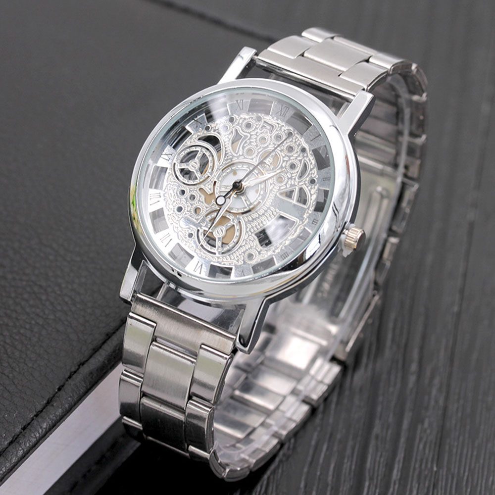D4C7-Luxury-Men-039-s-Metal-Stainles-Steel-Hollow-Pattern-Quartz-Wrist-Watch-Gift