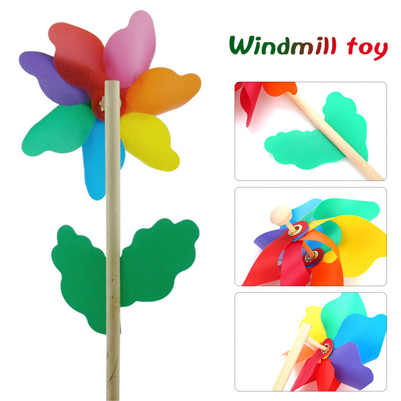 flower pattern spinner wind windmill kids children toys garden yard