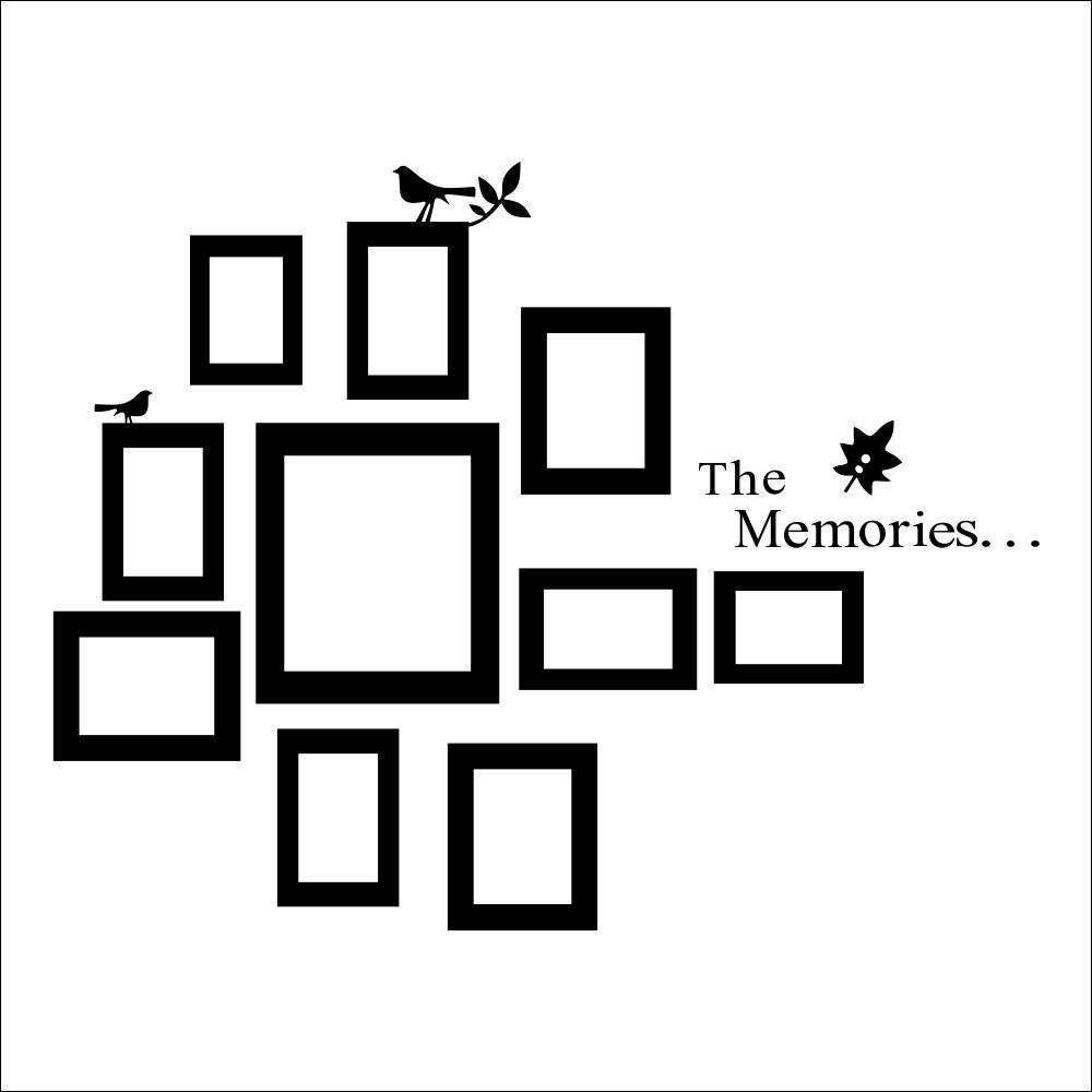 DAAE 10x Picture Photo Frame Wall Black Frames Sticker Vinyl Decal ...