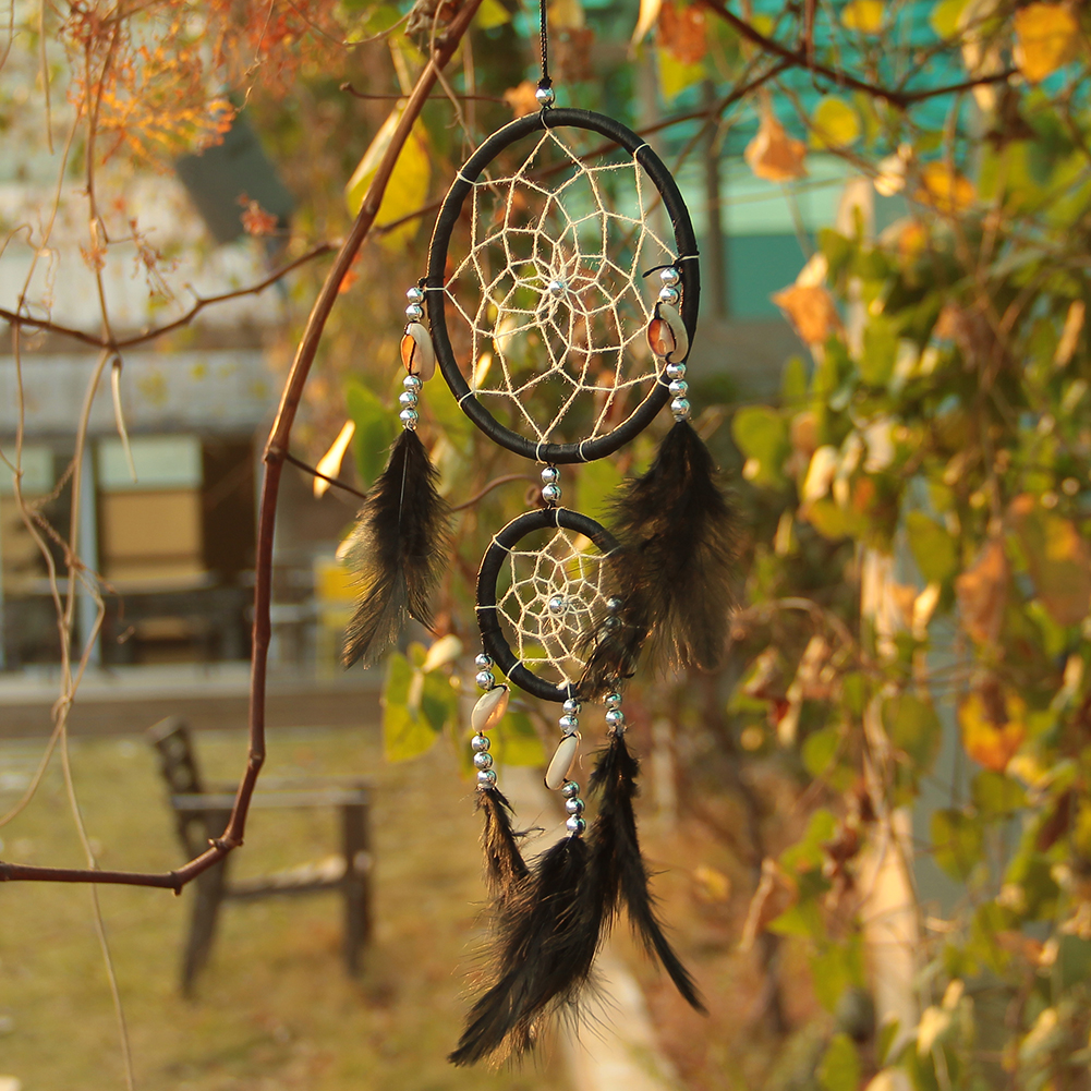DA4A-White-Black-Dream-Catcher-Net-With-feathers-Hanging-Decoration-Decor-Gift