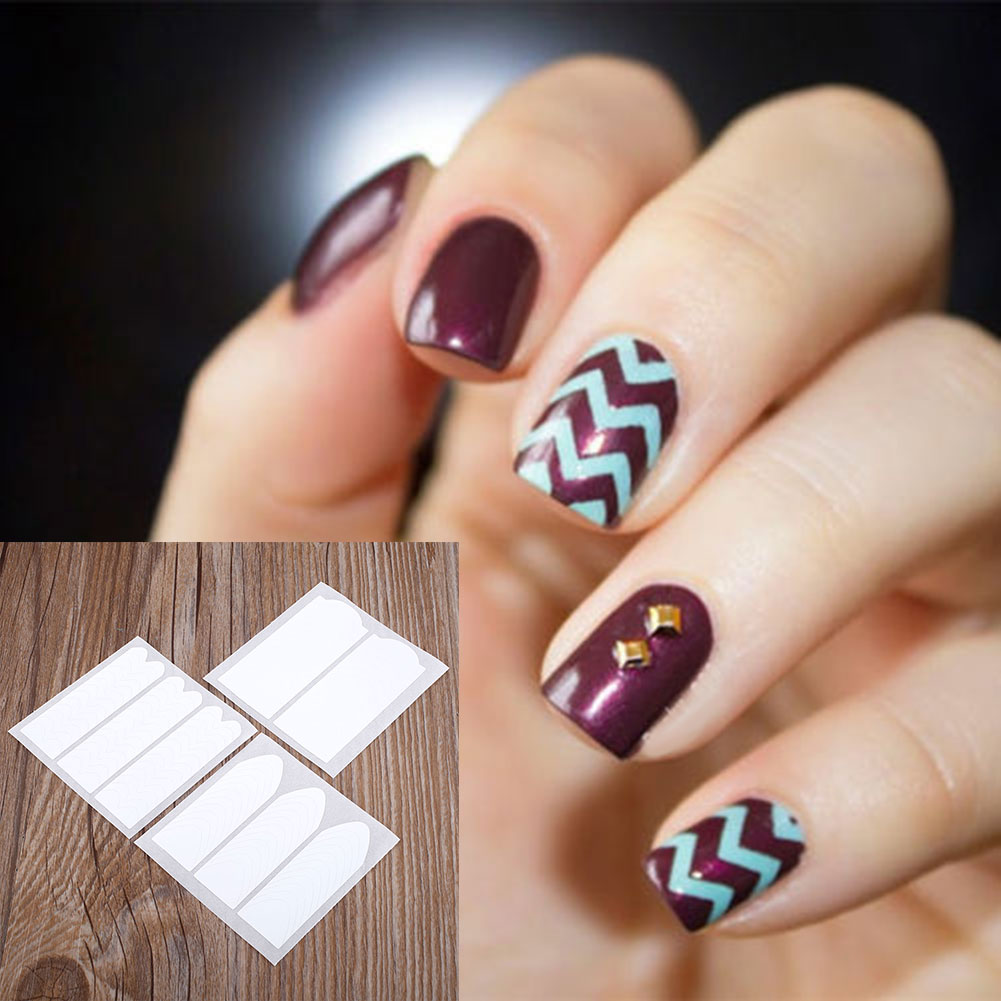Fashion 18 Sheets DIY French Nail Art Tips Tape Guide Manicure ...