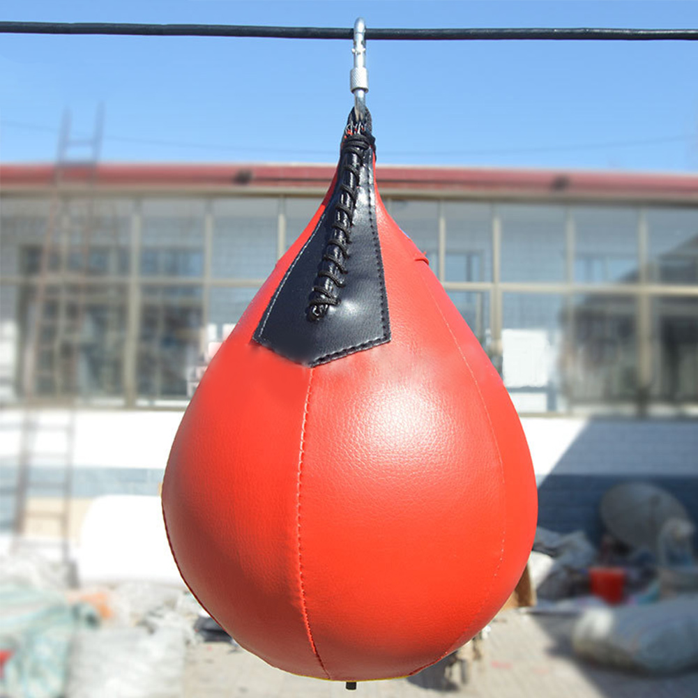 Image is loading 1D37-Boxing-Pear-Shape-PU-Punching-Speedball-Speed-