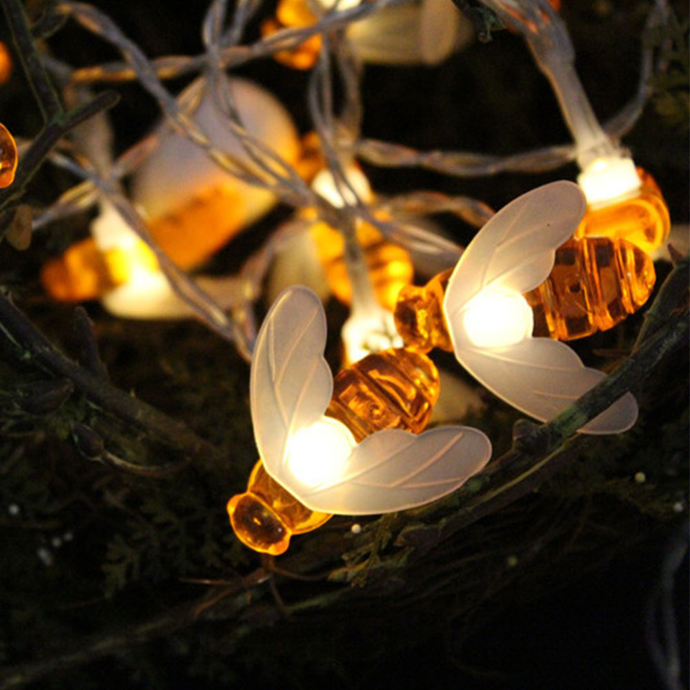 Solar-Bee-Light-String-Lovely-Honey-Bee-Shape- & Solar Bee Light String Lovely Honey Bee Shape 30 LED Lights Outdoor ...