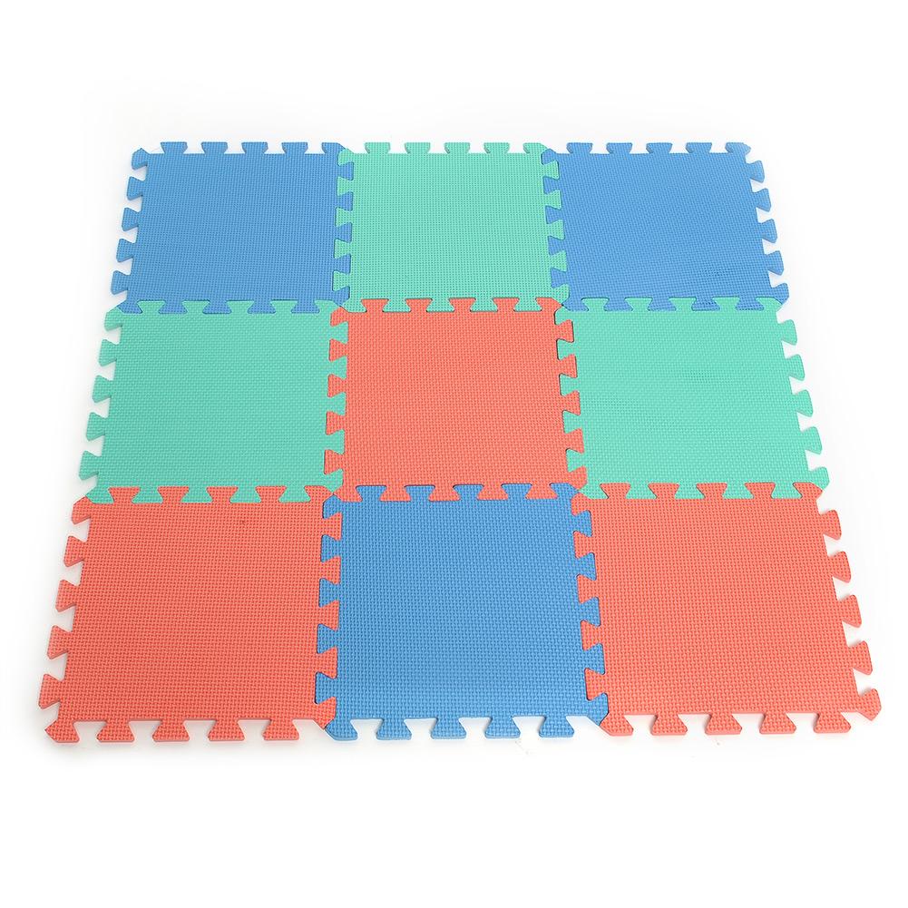 9pcs Set Interlocking Puzzle Floor Foam Gym Mats Thick Squares