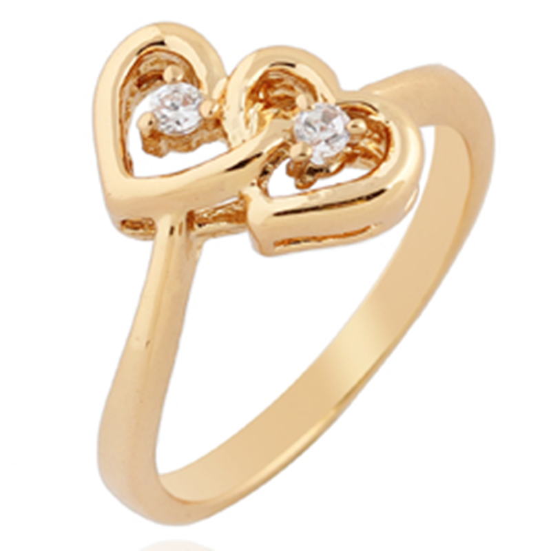 4C35-18K-Gold-Plated-Ring-Zircon-Double-Shape-Fashion-Luxurious-Ladies-Gift