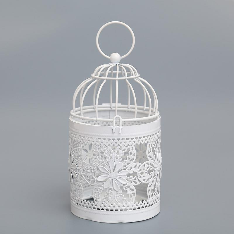 6F87-Hollow-out-Bird-Cage-Candleholder-Light-Holder-Candlestick-White-Metal-Deco