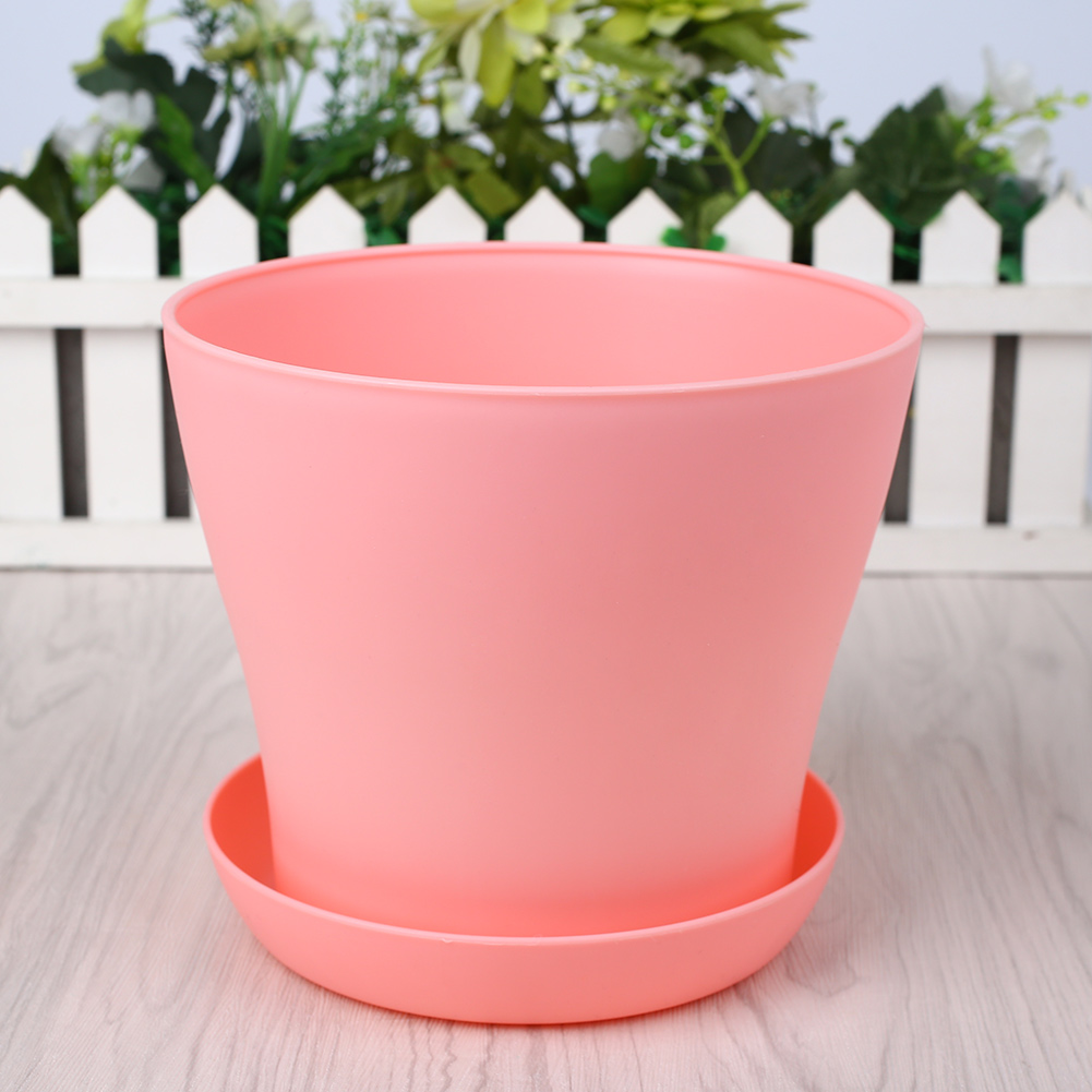 FDD6-PP-Resin-Pots-Open-Flowerpots-Saucer-Tray-Garden-Home-Courtyard-Decor-Pot