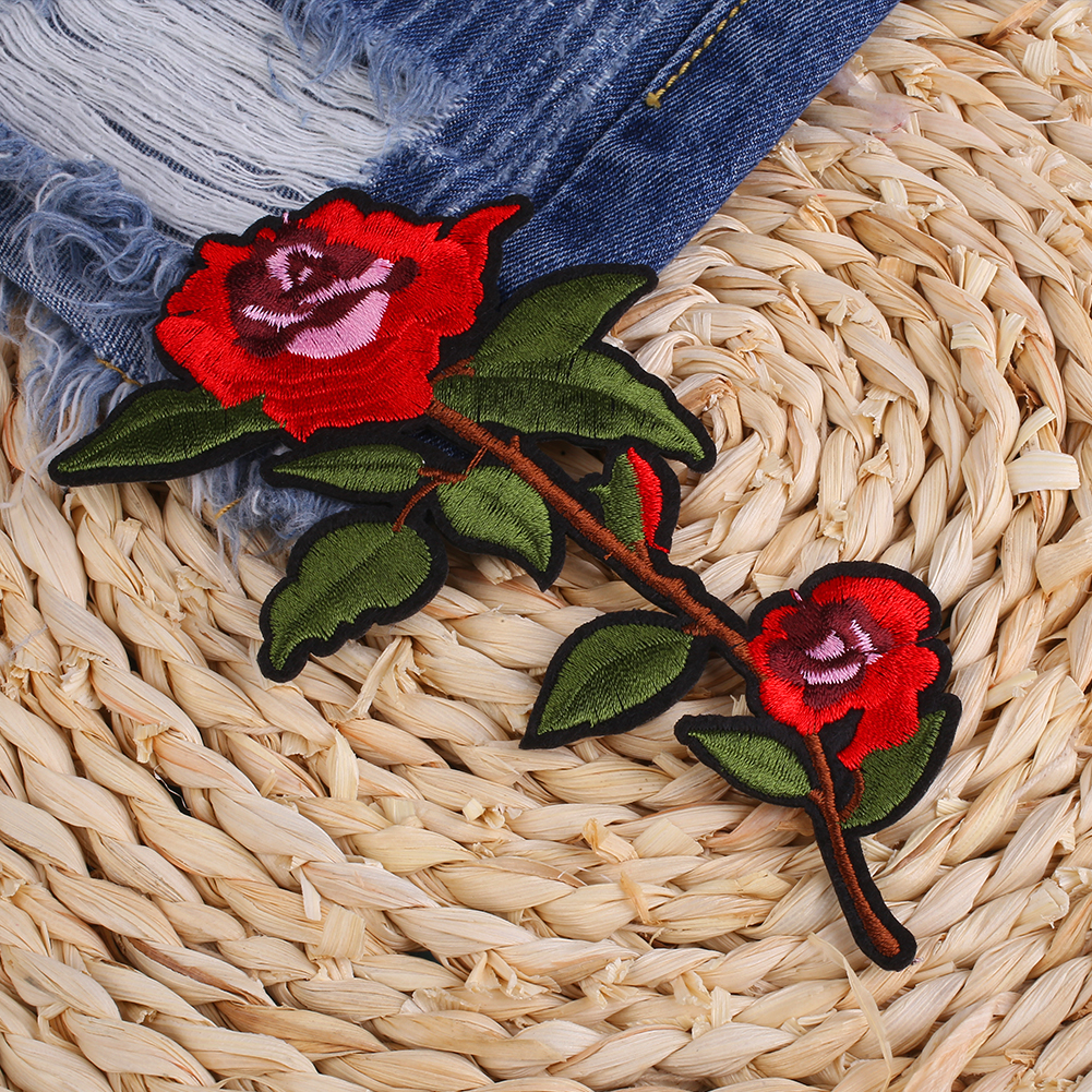 95EE-Rose-Flower-Patch-Embroidered-Clothing-Sticker-Sew-Repair-Green-Leaves