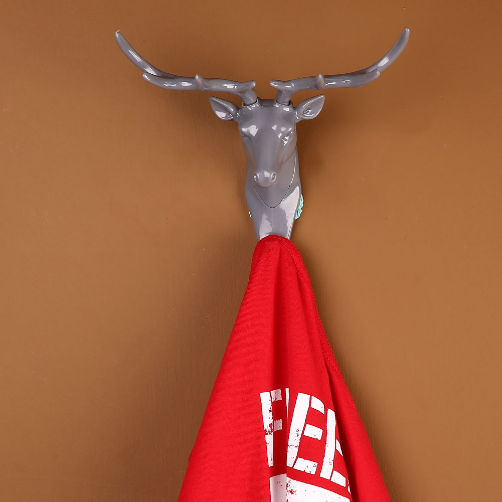6E14 Deer Stags Head Hook Antlers Hanger Rack Keys Holder Wall Mount Home Living