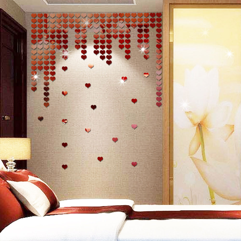 20D8-50pcs-set-Heart-Shape-Mirror-Wall-Stickers-Decal-Art-Home-Decor-Adhesive