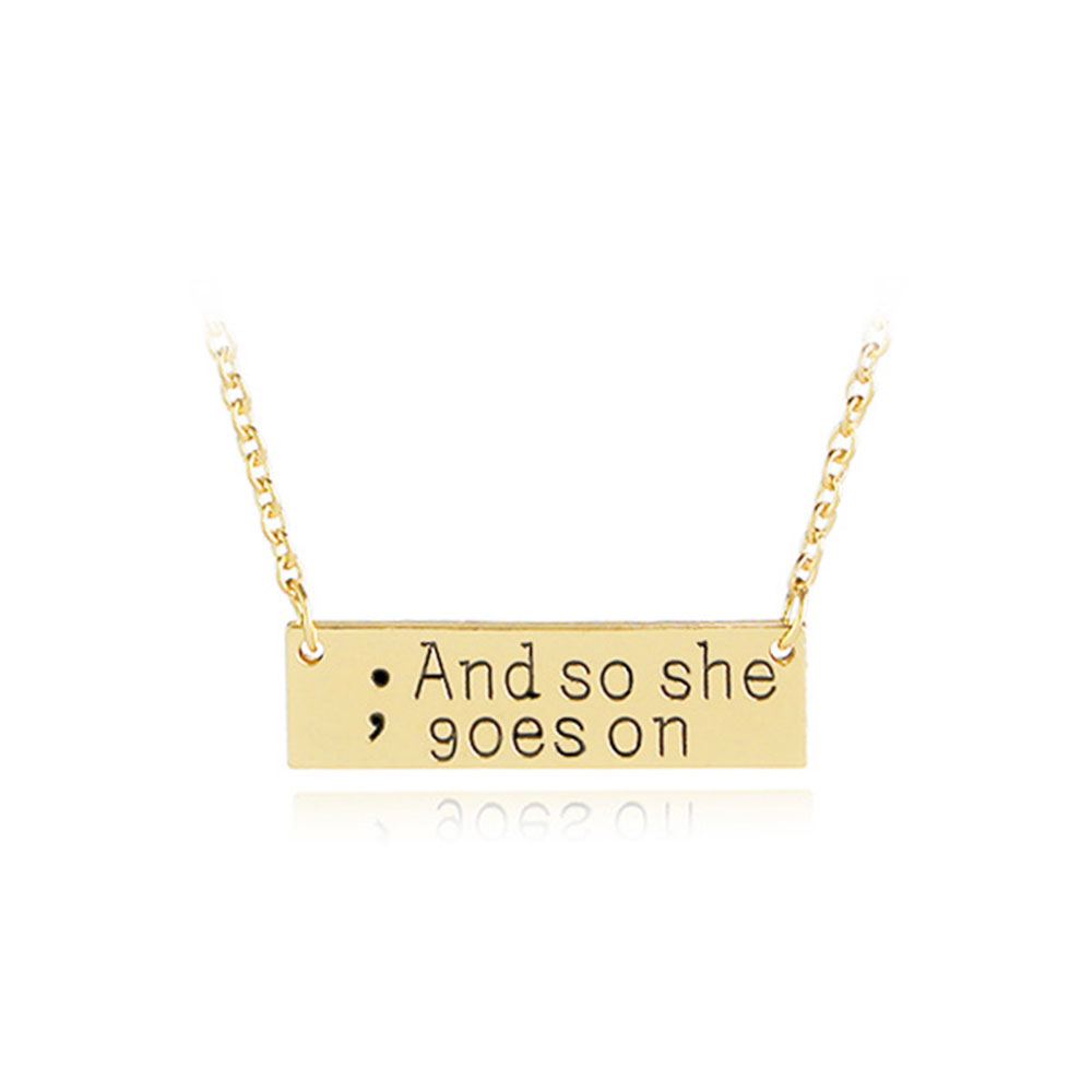 BE83-Pendant-Necklace-Choker-Chain-Unisex-Creative-Lettering-Gold-Silver-Beauty