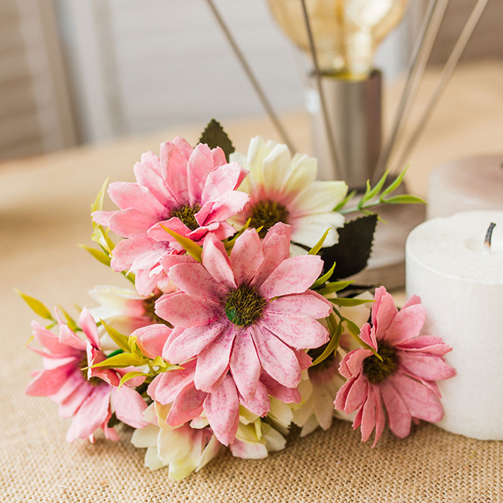 9D49 Wedding Bouquet Floral Decor Artificial Silk Flower Daisy Party ...
