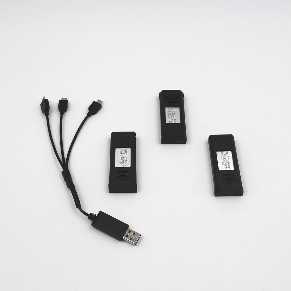 Black-ABS-Kit-Premium-High-Performance-3pcs-Battery-Charging-Cord-Folding-Drone