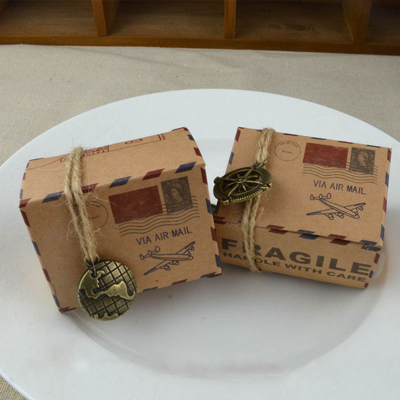 C685 6PCS Candy Box Gift Kraft Wedding Birthday Packing Cute Portable