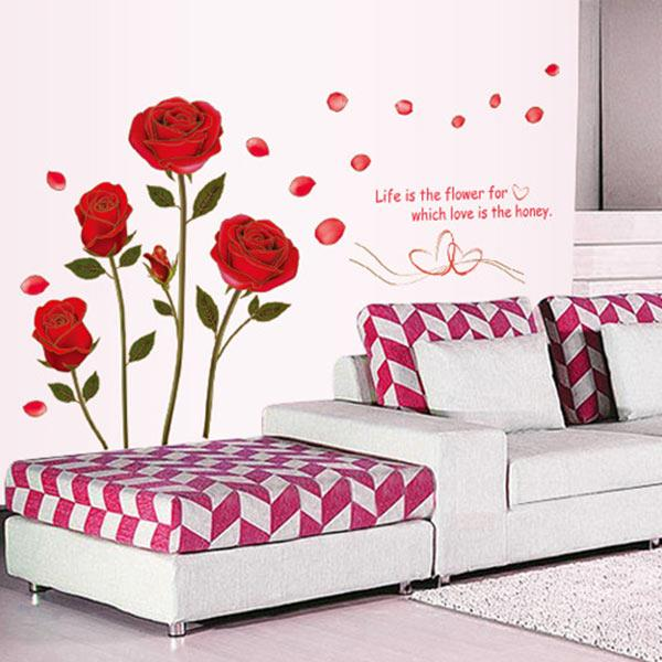 Home Decor Red Rose Wall Decal Mural Removable Flower Wall