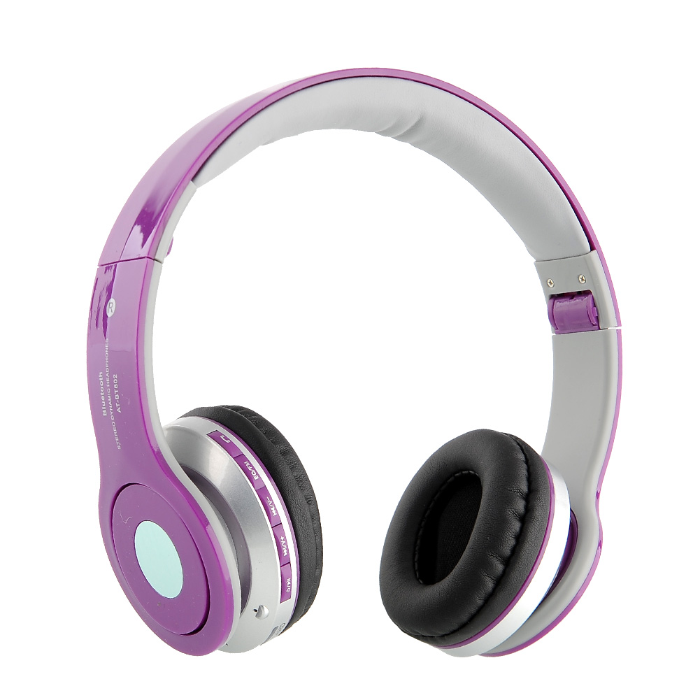 Hi-tech Purple USB Wireless Bluetooth Stereo Headset AT-B802 For Mobile Mp3