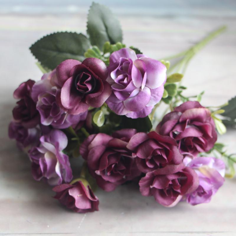 A479-Austin-15-heads-Silk-Flowers-Artificial-Rose-Bridal-Flower-Arrangement