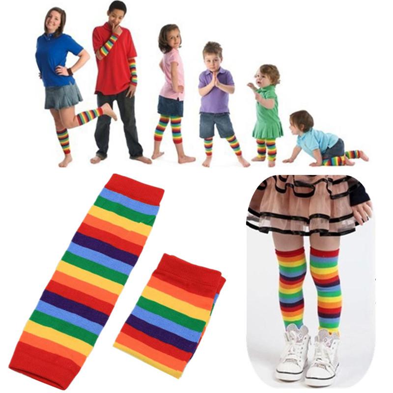 CC55 Beinwärmer  Socken  Streifen  Baby  Baby  Regenbogen