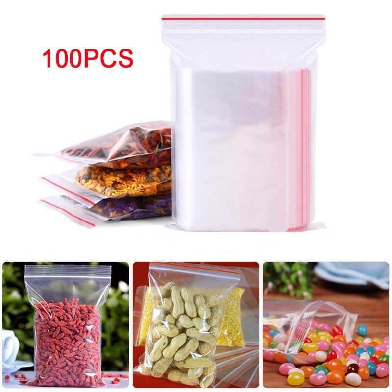 7060-100pcs-Plastic-Seal-Ziplock-Bags-Clear-Poly-Polyethylene-Food-Bag-Packing