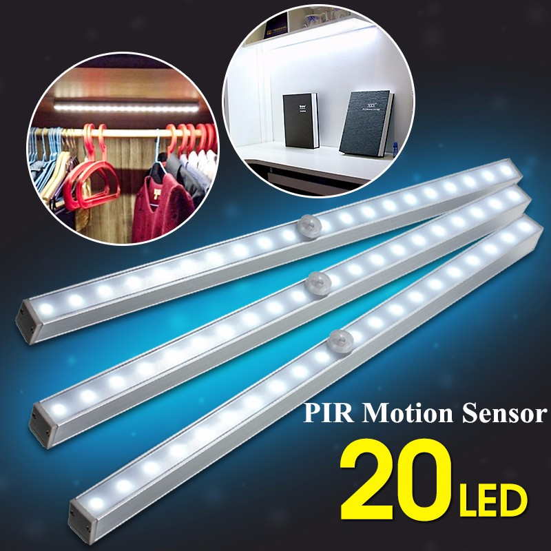 Battery Powered Under Cabinet Led Strip Lighting: Battery Operated LED Strip Light PIR Motion Sensor Under