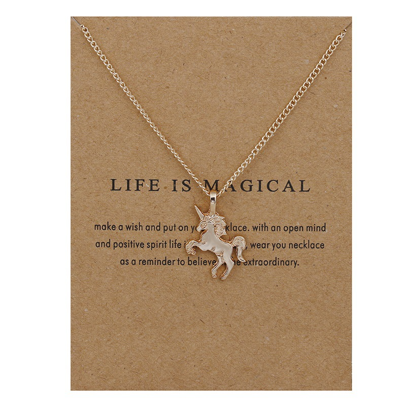 5CAA-New-Fashion-Unicorn-Pendants-Rose-Silver-Chains-Necklaces-Jewelry-Gift