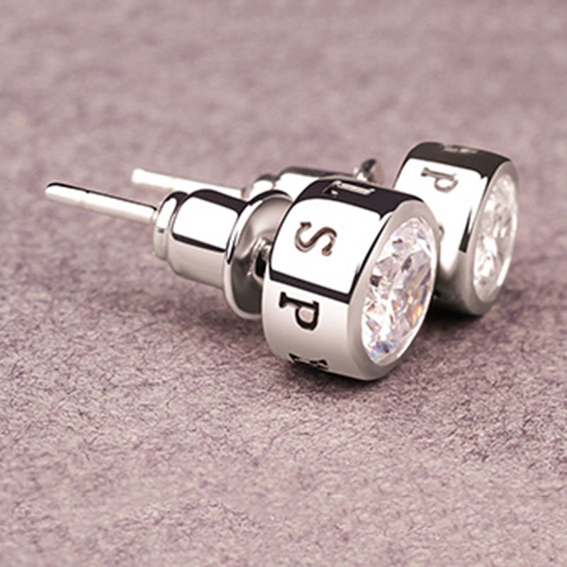 33E4-Fashion-Individuality-Men-039-S-Diamond-Silver-Earrings-Ear-Stud-Jewelry-Gifts
